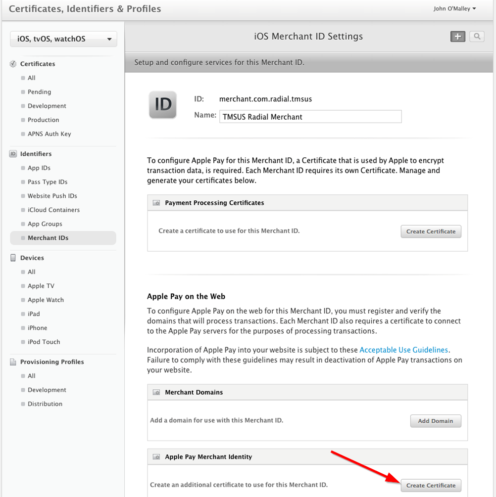 Apple pay web integration the option to generate merchant identity certificate is in the edit merchant screen under merchant identity certificate as shown below xflitez Gallery